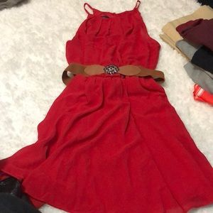Cute Red Dress with Belt